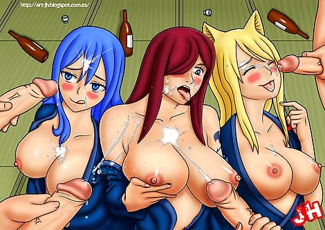 Fairytail  Juvia  Erza  Lucy  bukkake  breasts