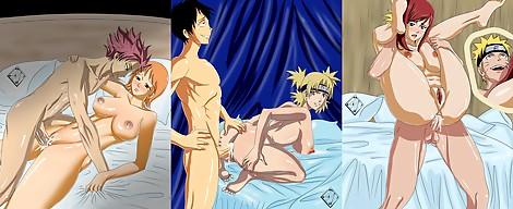 Fairy tail Naruto One Piece Natsu Nami Luffy Temari Naruto Erza