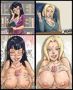 Tales of Gohan Sensei Sexy Librarian Nico Robin Sexy Headmaster Tsunade titfuck cum sketch lanza