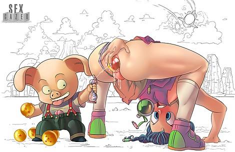 Bulma Hiding the Dragon Balls