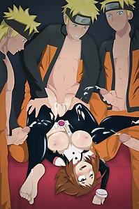 Uraraka has fun with Naruto clones