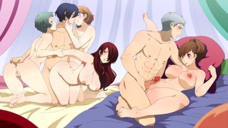 Makoto fucking Mitsuru while kissing Yukari and fingering Fuuka