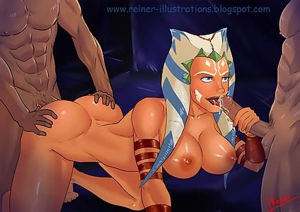 asuka  star wars cartoony anal cum blowjob